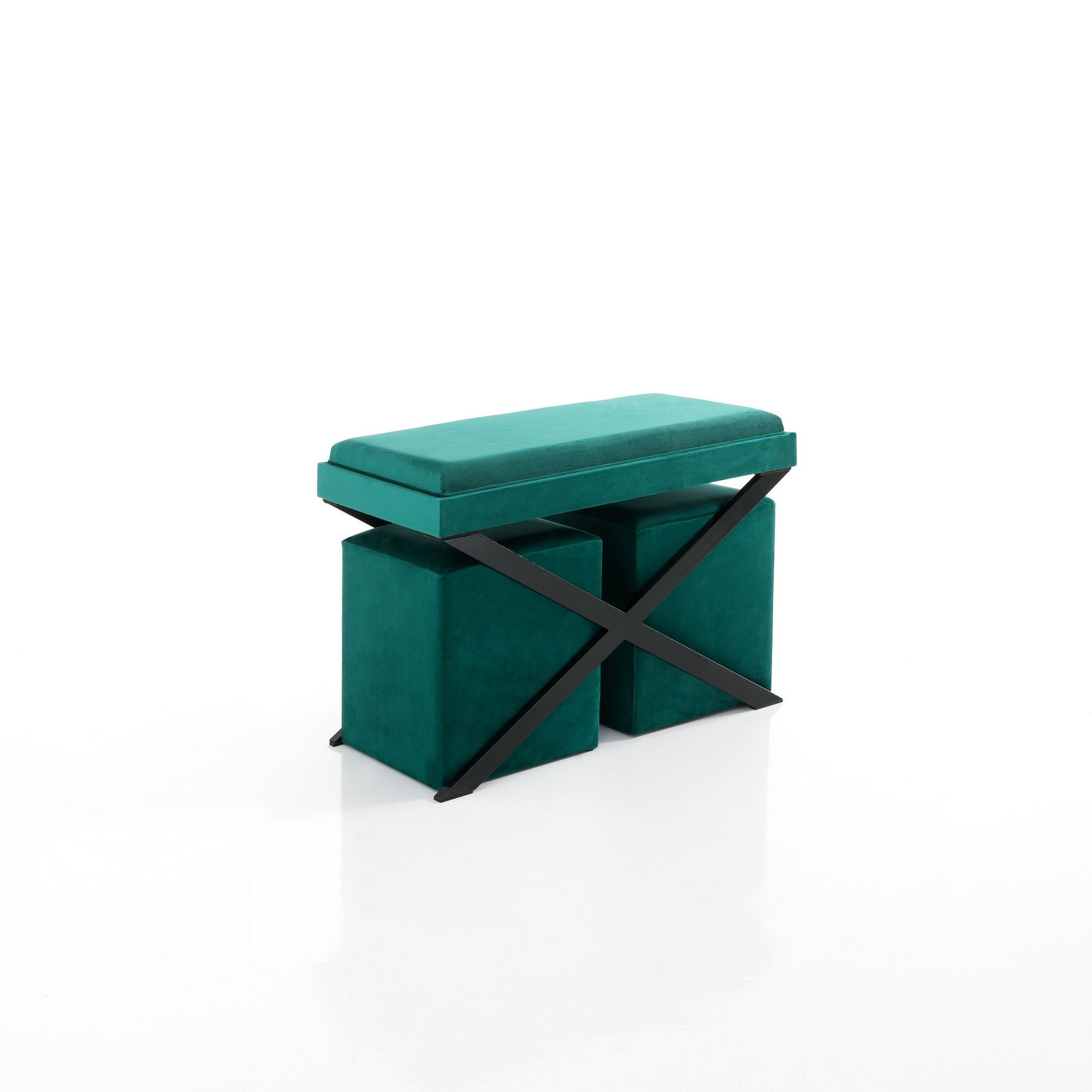 Bench / Coffee Table & 2 Ottomans   Green