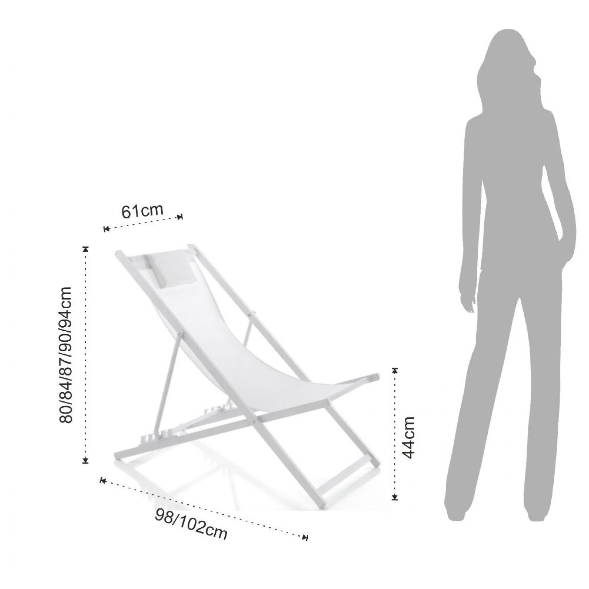 Adjustable Beach Chair Milos | White
