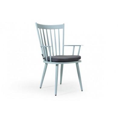 Alvena Chair with Cushion | Light Blue Matt