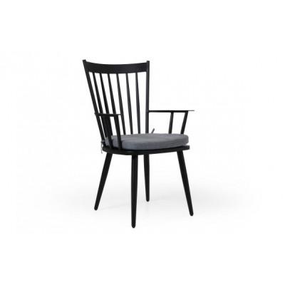 Alvena Chair with Cushion | Black Matt