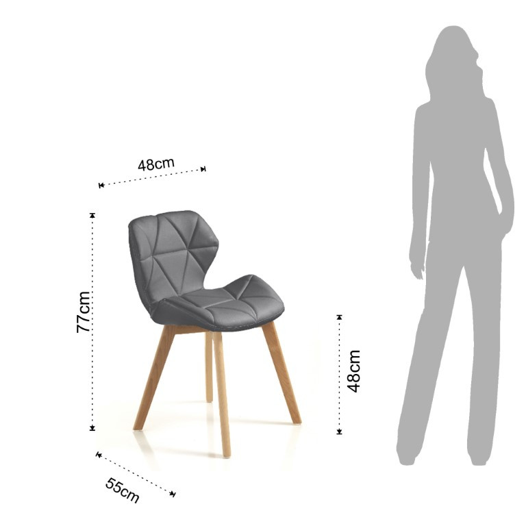Dining Chair New Kemi-A Set of 2 | Grey
