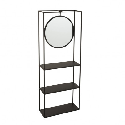 Regalwand mit Spiegel   Schwarz