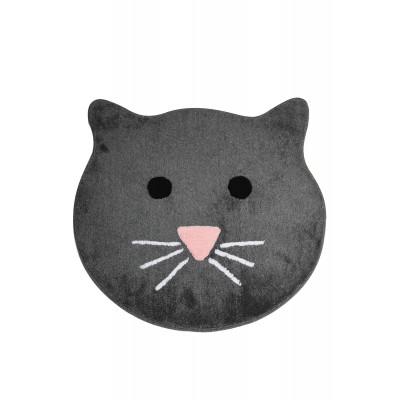Badematte Katze   Dunkelgrau