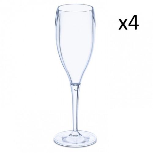 Champagnerglas Cheers Superglas 4er-Set | Transparentes Aquamarin