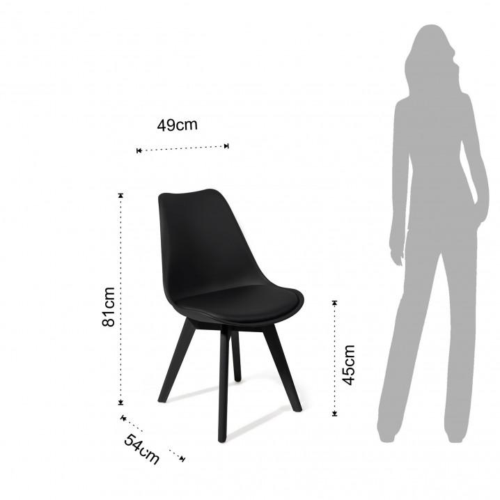Set de 4   Chaise Kiki avec des Pieds Ajustables   Noir