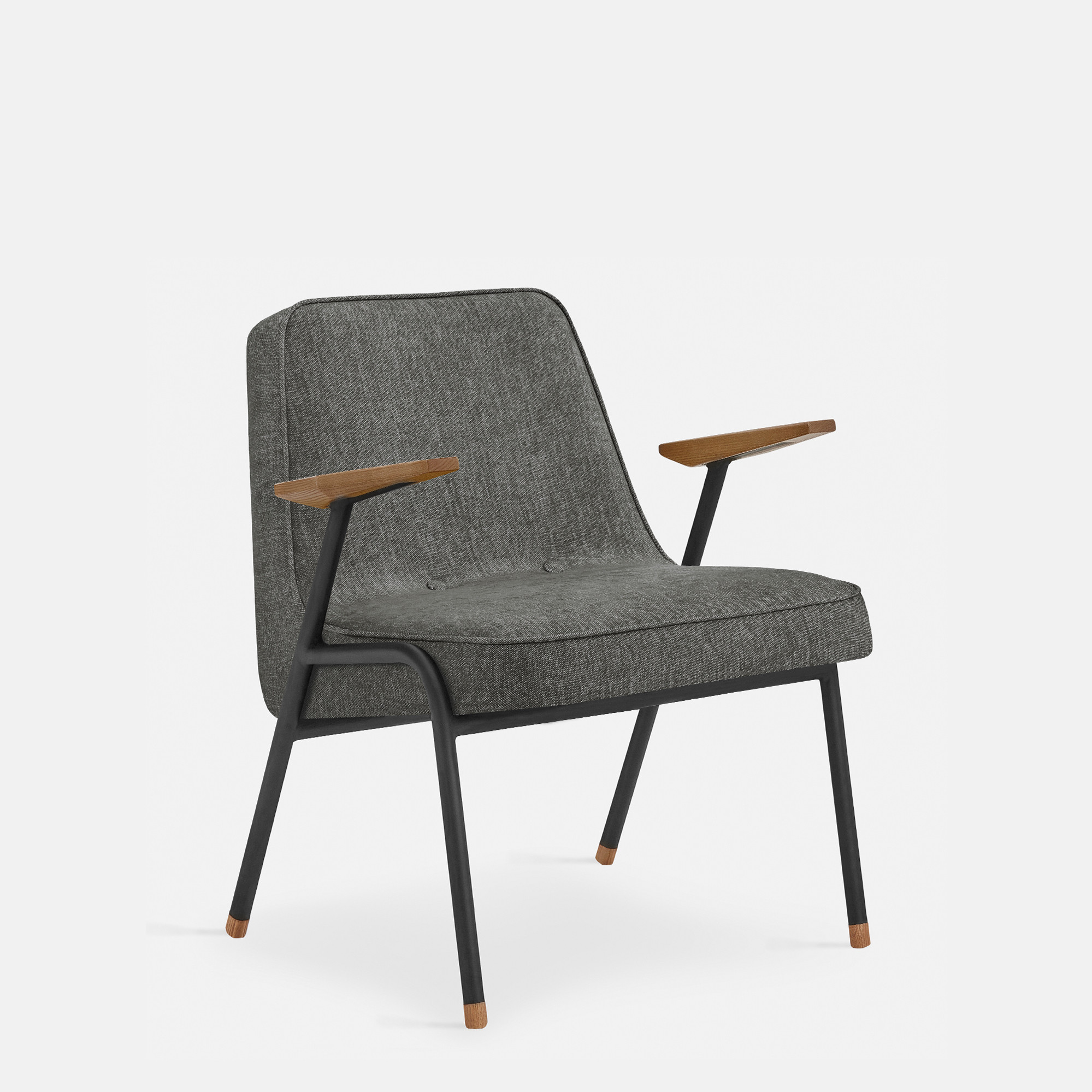 Sessel 366 Metall & Loft   Mattschwarz / Grau