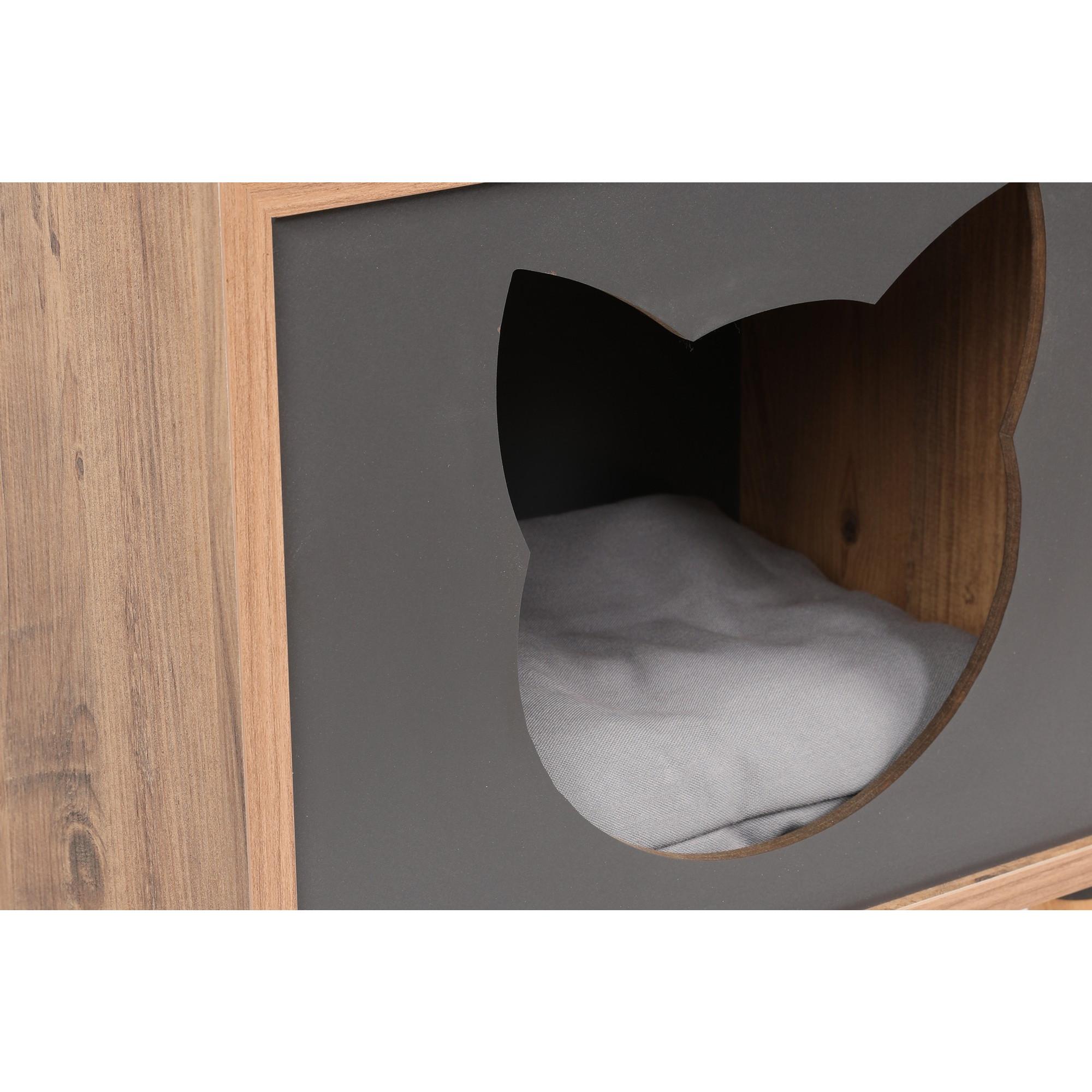 Katzenhaus Kasten | Anthrazit/Fichtenholz