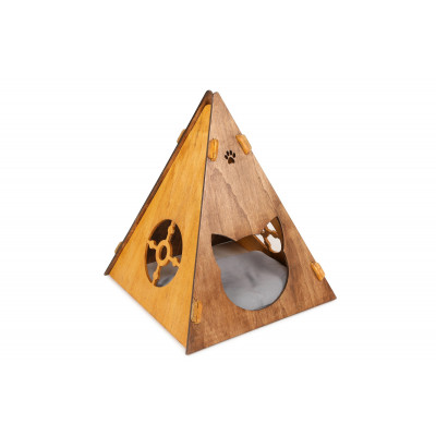Katzenhaus Zelt | Nussbaum-Holz