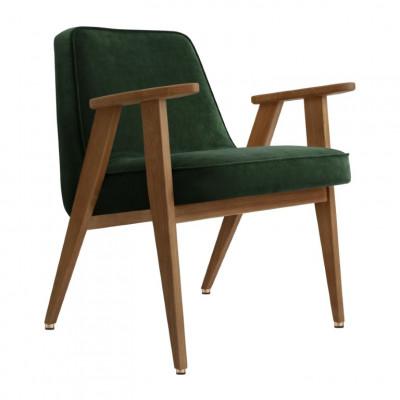 Sessel 366 Velvet | Dunkle Eiche & Grün