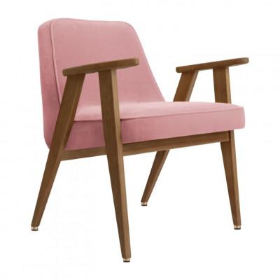 Sessel 366 Velvet | Dunkle Eiche & Rosa