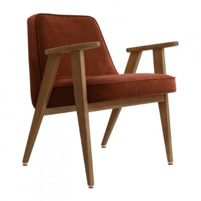 Sessel 366 Velvet | Dunkle Eiche & Red Brick