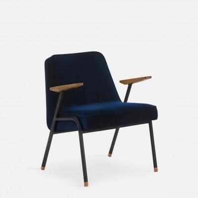 Sessel 366 Metall & Samt | Mattschwarz / Indigo