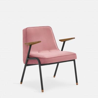 Sessel 366 Metall & Samt | Mattschwarz / Rosa