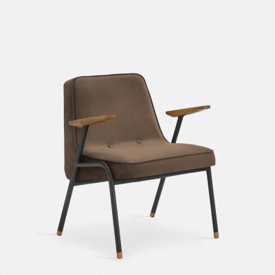 Sessel 366 Metall & Samt | Mattschwarz / Taupe