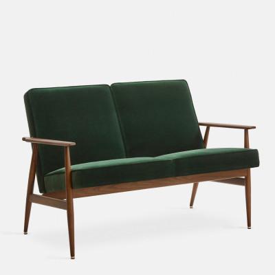 Sessel 2 Sitze Fox Samt | Dunkles Holz & Flasche Grün
