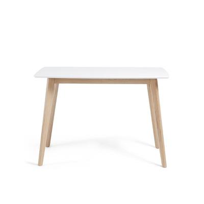 Tischeinheit   120 x 75 cm Weiß lackierte massive Hartholzbeine