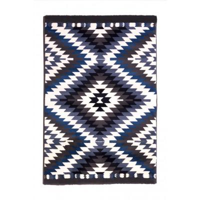 Teppich Mexico | Weiß / Blau / Anthrazit