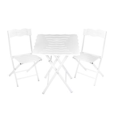 Outdoor-Tisch & Stühle Set | 3 Stück | Weiß