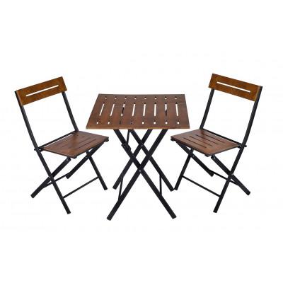 3er Set Tisch und Stühle   Walnuss-Schwarz
