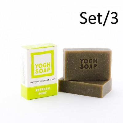 3er-Set Natürliche Joghurtseifen | Erfrischende Minze | Grün
