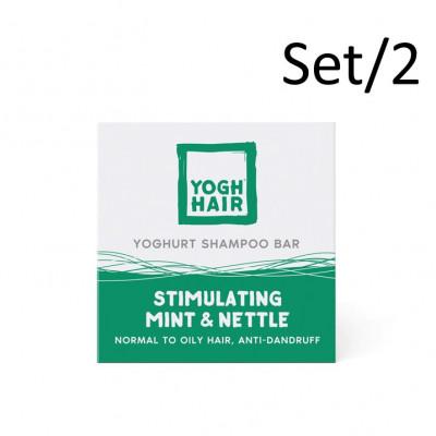 2er-Set Natürliche Joghurt-Shampoo Bars | Stimulierende Minze & Brennnessel | Grün