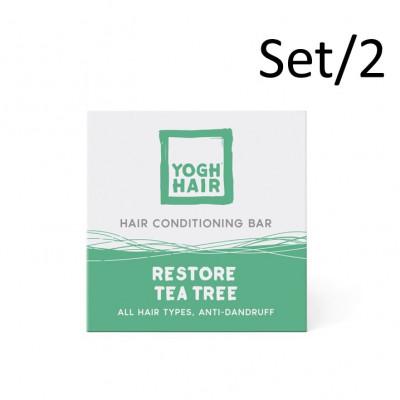 2er-Ser Natürliche Joghurt-Conditioner Bars | Reparierender Teebaum | Weiß