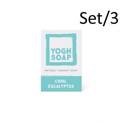 3er-Set Natürliche Joghurtseifen | Kühler Eukalyptus | Blau