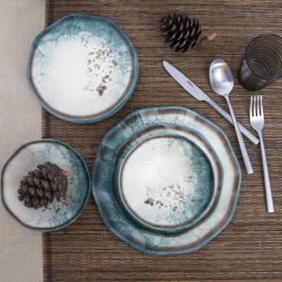 Porzellan-Geschirrset | 24 Teile Rund | Mehrfarbig
