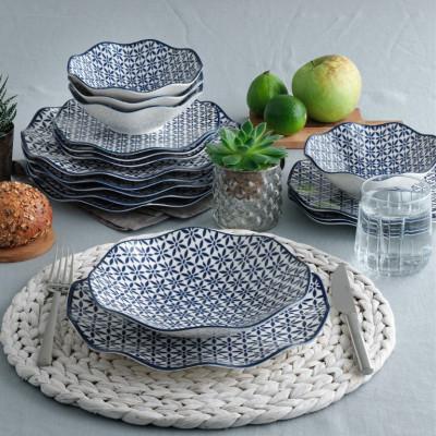 Porzellan-Geschirrset | 24 Teile | Weiß Blau