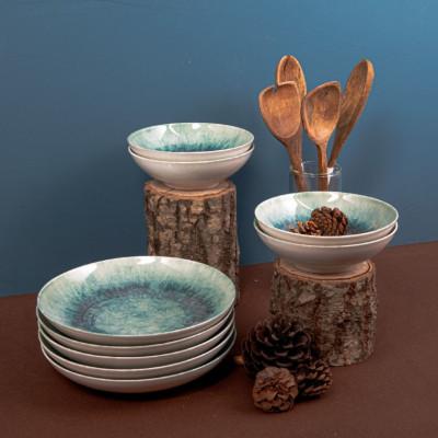 Porzellan-Geschirrset | 18 Teile | Weiß Blau