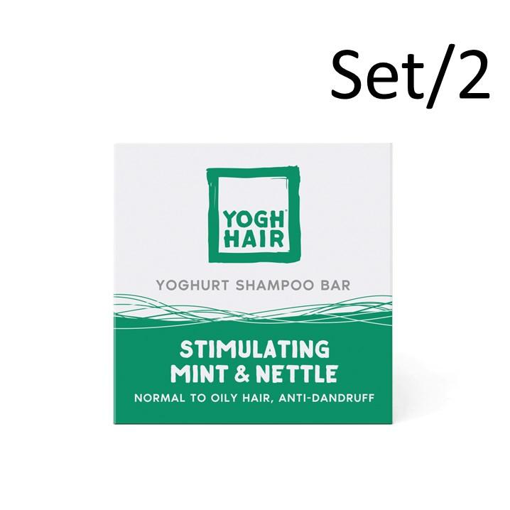 Set de 2 Barres de Shampoing au Yaourt Naturel   Stimulating Mint & Nettle   Vert