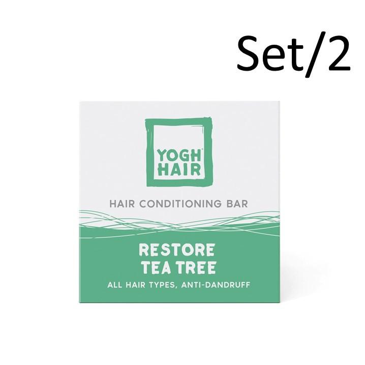 Set de 2 Barres d'Après-Shampoing au Yaourt Naturel   Restore Tea Tree   Blanc