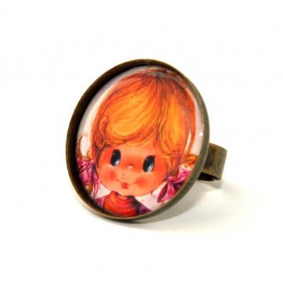 Vintage Zopf Mädchen Runde Kamee Ring