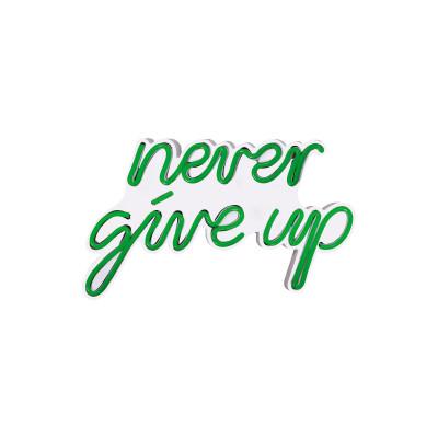Neon Wandlampe Never Give Up | Grün