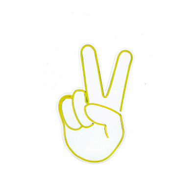 Neon Wandlampe Victory Sign | Gelb