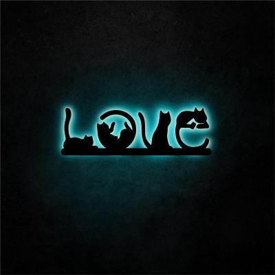 Neon-Wandleuchte Cat Love | Blau
