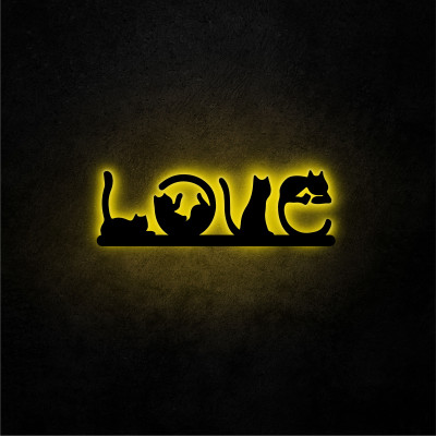Neon-Wandleuchte Cat Love | Gelb
