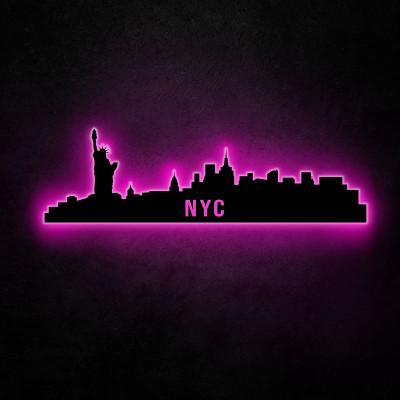 Neon-Wandleuchte NYC Skyline | Pink