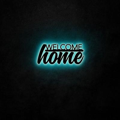 Neon-Wandleuchte Willkommen Zuhause | Blau