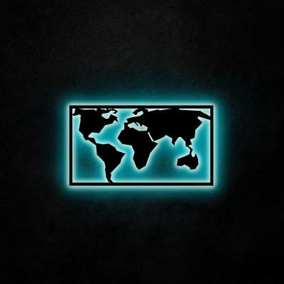Neon Wandleuchte Weltkarte 2 | Blau