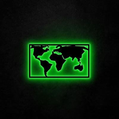 Neon Wandleuchte Weltkarte 2 | Grün