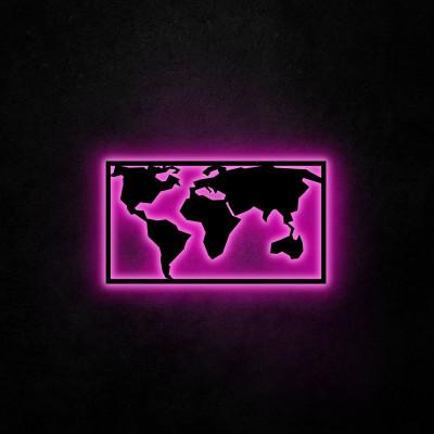 Neon Wandleuchte Weltkarte 2 | Rosa