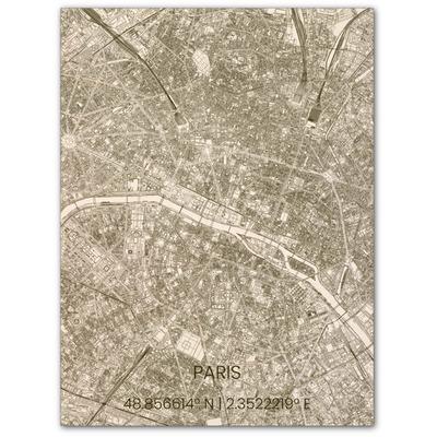 Wooden Wall Decoration | City Map | Paris-