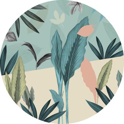 Runde Fototapete Pale Leaves | Mehrfarbig