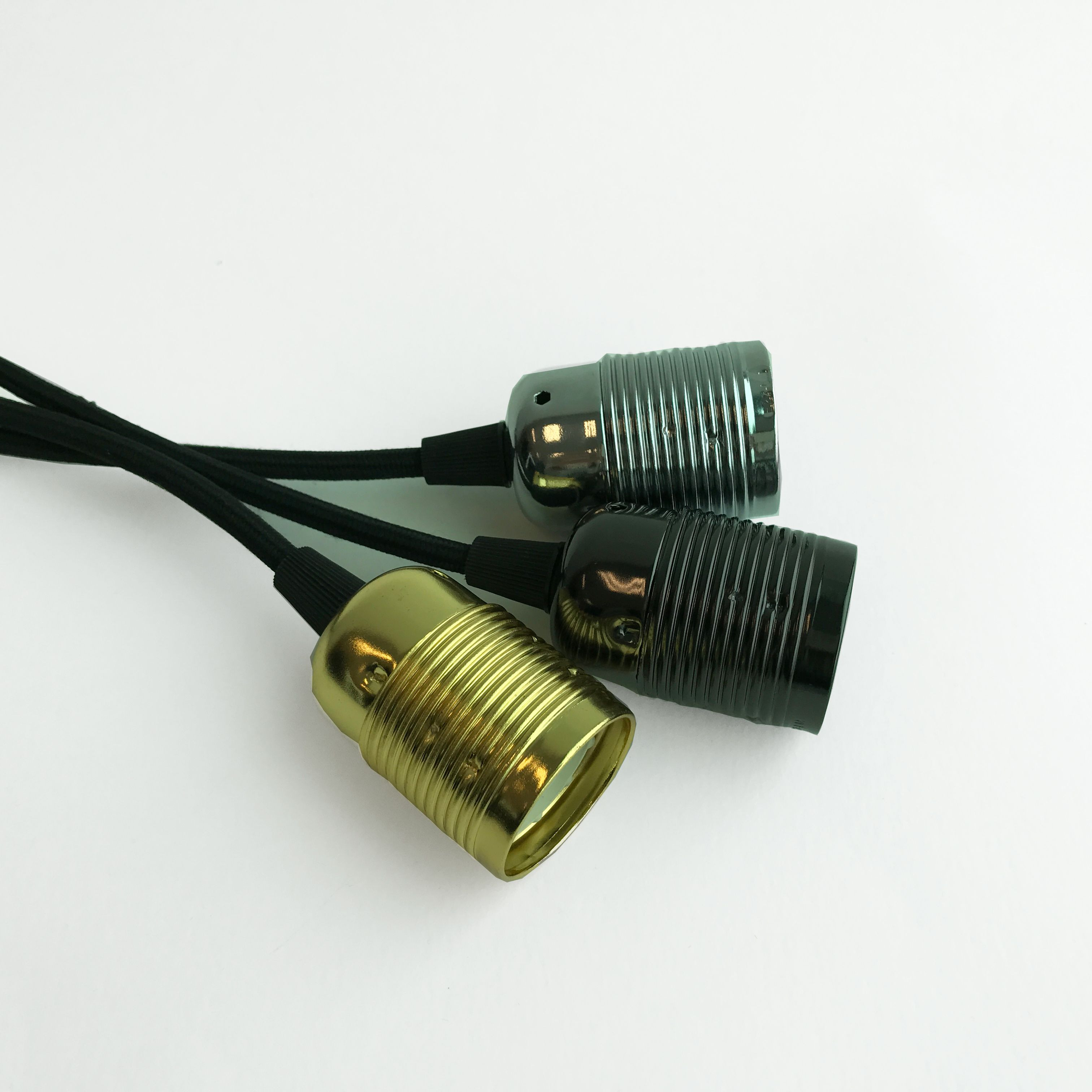 Black Textile Cable   Brass