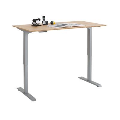 Verstellbarer Computertisch | Platingrau Metall und Bambus