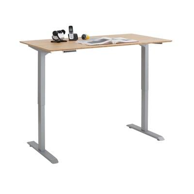 Adjustable Computer Desk | Platinum Grey Metal and Bamboo