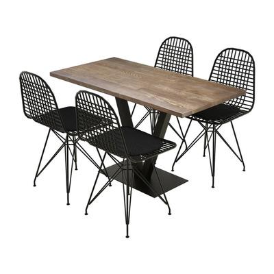 Set mit Tisch & Stühlen Sun | Walnuss Schwarz