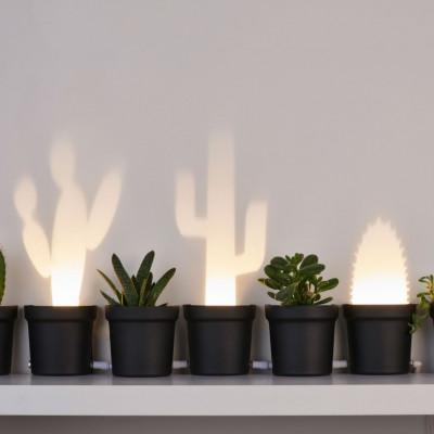 Set of 3 Table Lamps Cactus   Plastic   Black Plug