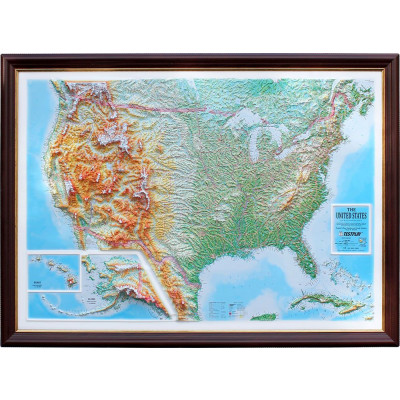 Decorative 3D Map with Panorama Effect   USA